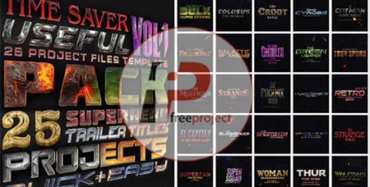 پروژه آماده افترافکت-پک ویژه ساخت عنوانهای تریلر فیلم های هالیوودی
