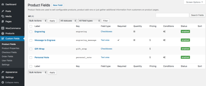 01 product field list 819x345 - افزونه فیلدهای سفارشی ووکامرس | Custom Fields