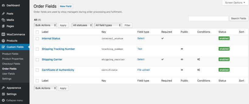 04 order field list 819x343 - افزونه فیلدهای سفارشی ووکامرس | Custom Fields