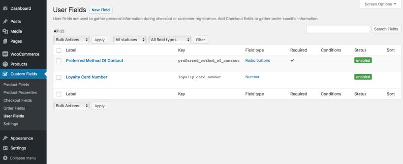 05 user field list 819x335 - افزونه فیلدهای سفارشی ووکامرس | Custom Fields