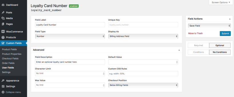 10 user field view 819x340 - افزونه فیلدهای سفارشی ووکامرس | Custom Fields