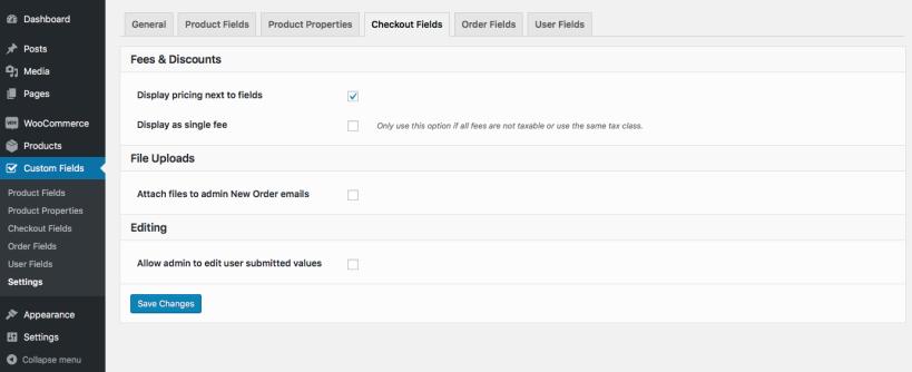 13 settings checkout fields 819x334 - افزونه فیلدهای سفارشی ووکامرس | Custom Fields