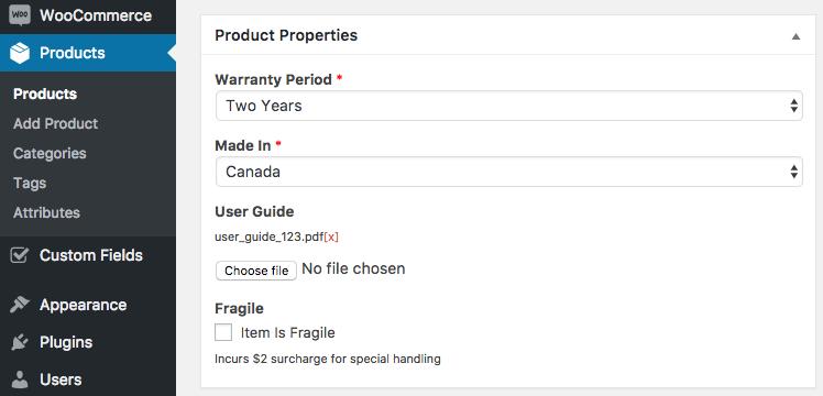 16 backend product properties - افزونه فیلدهای سفارشی ووکامرس | Custom Fields