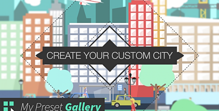 VIDEOHIVE FLAT CITY VECTOR – CITY WITH BUILDINGS, PEDESTRIANS, CARS, PLANES… IN FLAT