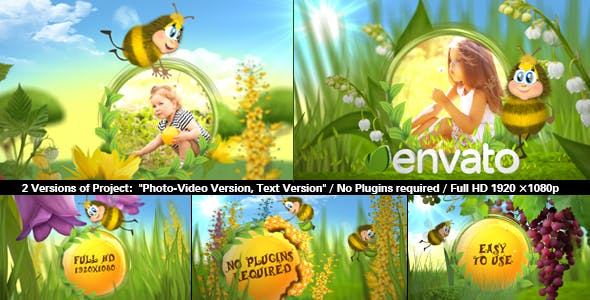 590x300 - پروژه آماده افترافکت ویژه ساخت اسلایدشو عکس کودک با عنوان زنبور خوشحال