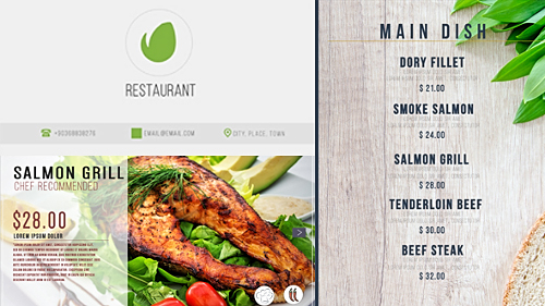 پروژه افترافکت برای نمایش منوی غذای رستوران