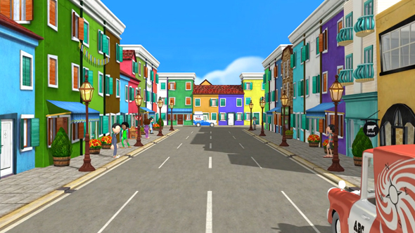 فوتیج کارتونی فضای شهر