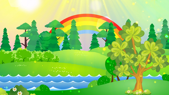 فوتیج کارتونی چمنزار و درخت و رنگین کمان