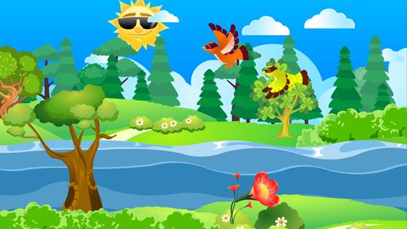 فوتیج کارتونی رودخانه درختان و جنگل