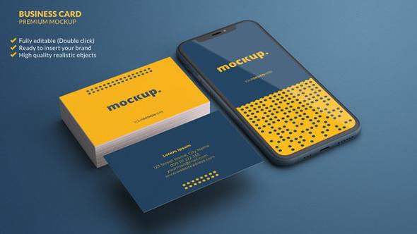 موکاپ کارت ویزیت و موبایل