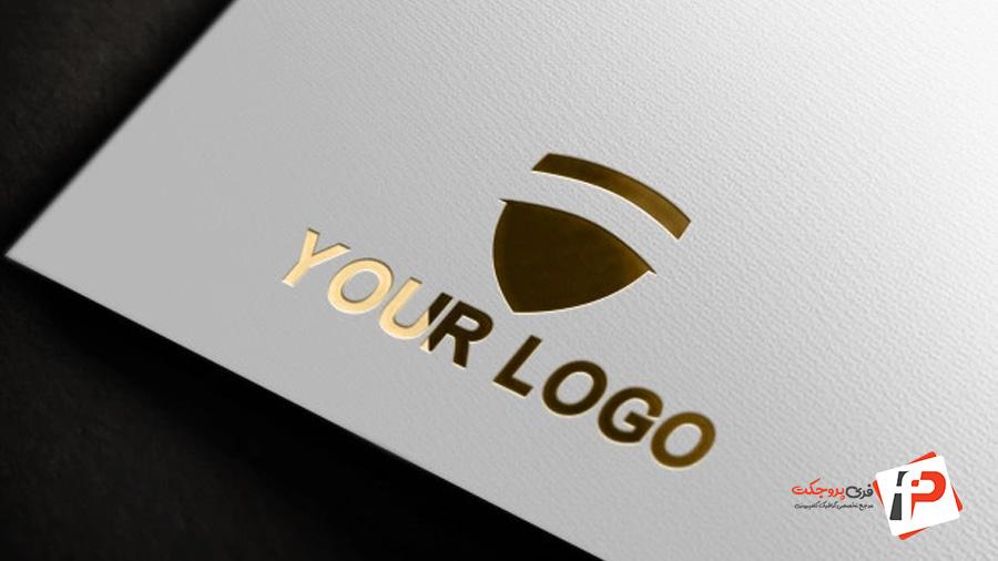 موکاپ لوگو طلا کوب شده